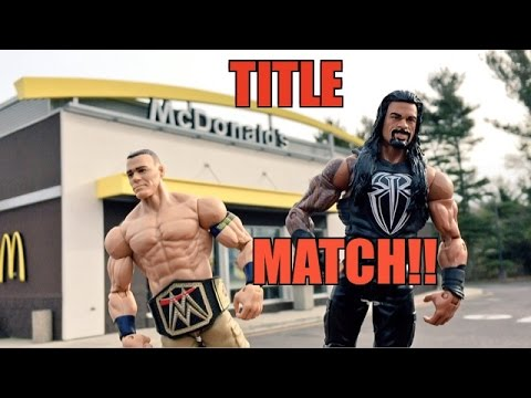 GTS WRESTLING: McDonalds FOOD FIGHT! WWE Mattel Figure Animation PPV Event!