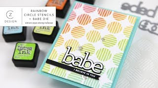Simon Says Stamp Circle Stencil + Rainbow Ink Blending