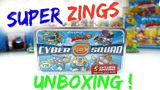 Super Zings Cyber squad collectors tin unboxing #superzings