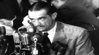 Howard Robard Hughes, Jr. testifies about profits on war contracts during Senate ...HD Stock Footage