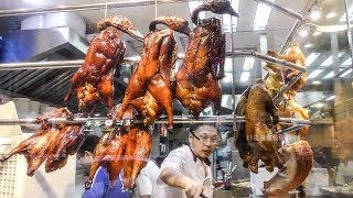 The Chinese Roasted Duck Tasted in Mong Kok, Hong Kong. Chinese Street Food.