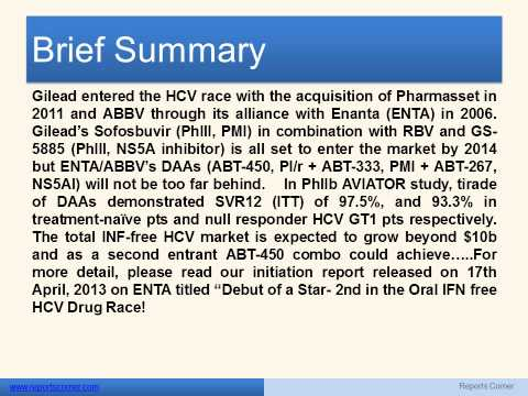 ENANTA PHARMA  Debut of a Star- 2nd in the Oral IFN free HCV Drug Race! - Reports Corner