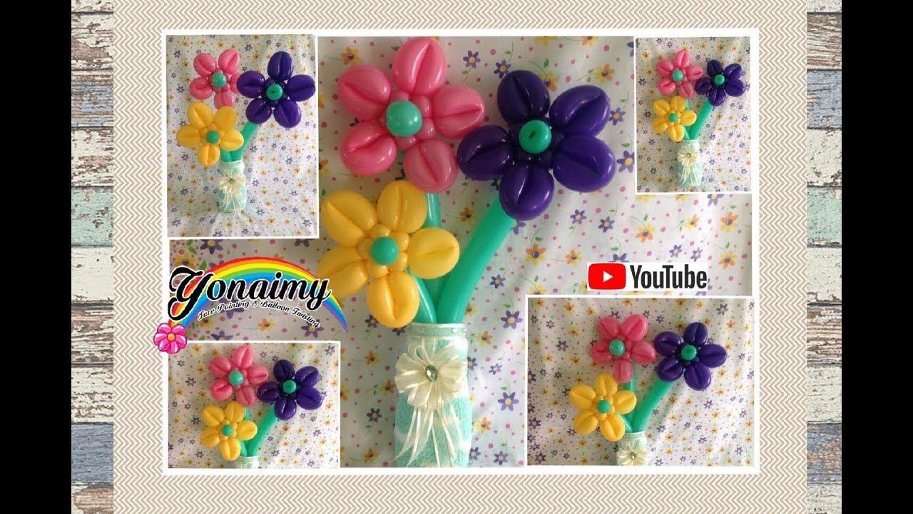 Flores con los petalos hacia enfrente how to make - Hacer munecos con globos ...