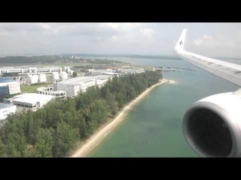MH B738 landing at Singapore Changi Airport