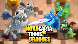 Novo Dragão Esqueleto vs todos Dragões do Clash Royale