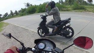 Honda XRM vs Yamaha MIO drag race