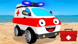 The White Ambulance helps The Fire Truck | Emergency Vehicles New Cartoons for children