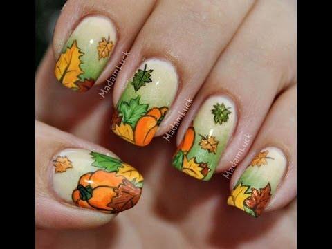 Autumn Leaves and Pumpkins nail art