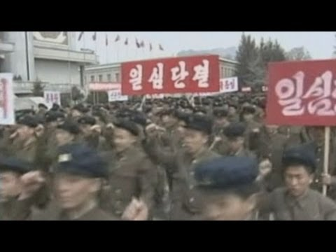 North Korea&#039;s state-run television shows mass rallies across the country apparently denouncing the United States and South Korea. Report by Rob Gillett. Subs...