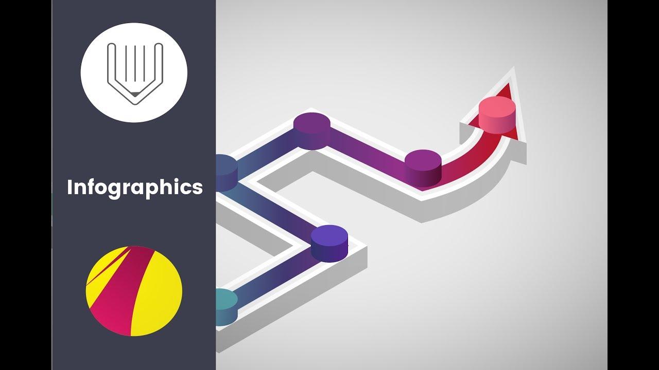 Infographic tutorial illustrator logo vector