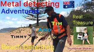Beach 🏖 Detecting finding Gold and Treasure Rings Silver Chains Gold Coins with Tim and Timmy 🇦🇺