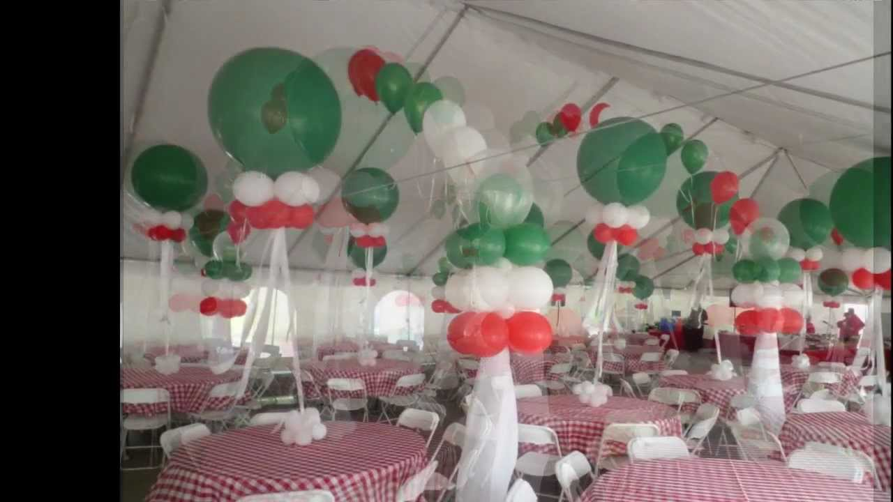 Italian themed corporate party tent balloon decoration for Balloon decoration for corporate events
