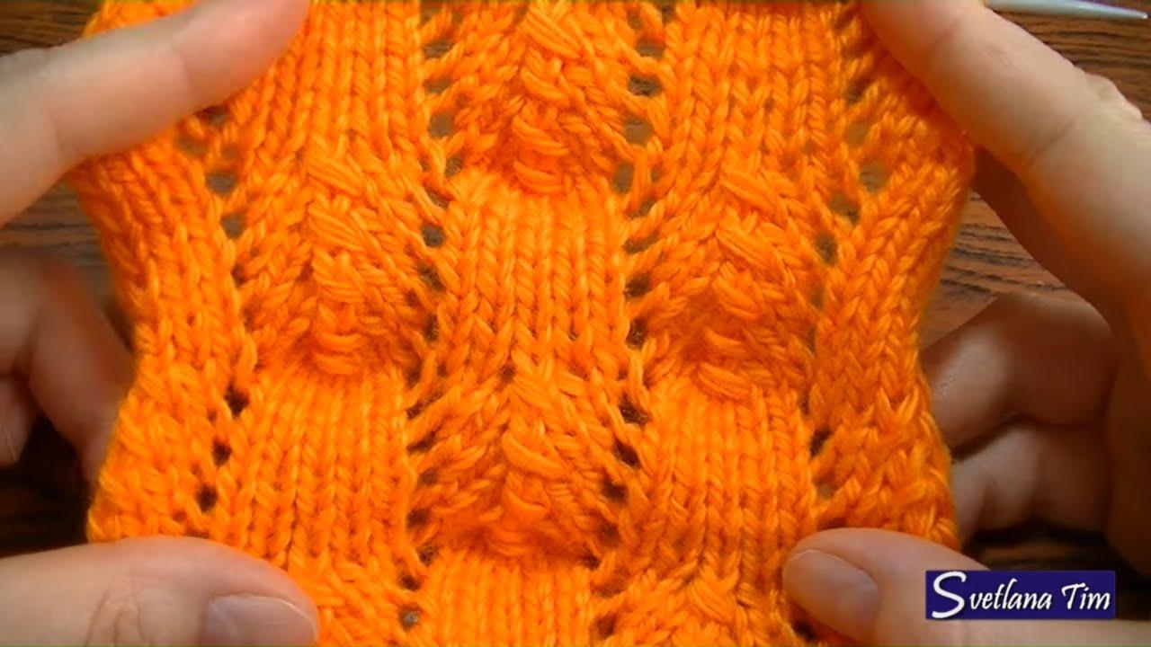 Как вязать простой ажурный узор спицами