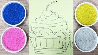 Tô màu tranh cát bánh ngọt cupcake - Coloring cupcake with sand toys - Đồ chơi trẻ em Chim Xinh