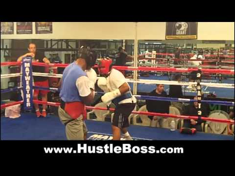 J'Leon Love (15-0, 8 KO's) sparring Daquan Arnett (10-0, 6 KO's) at the Mayweather Boxing Club