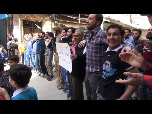 Anti-regime demo in Aleppo as thousands flee fighting