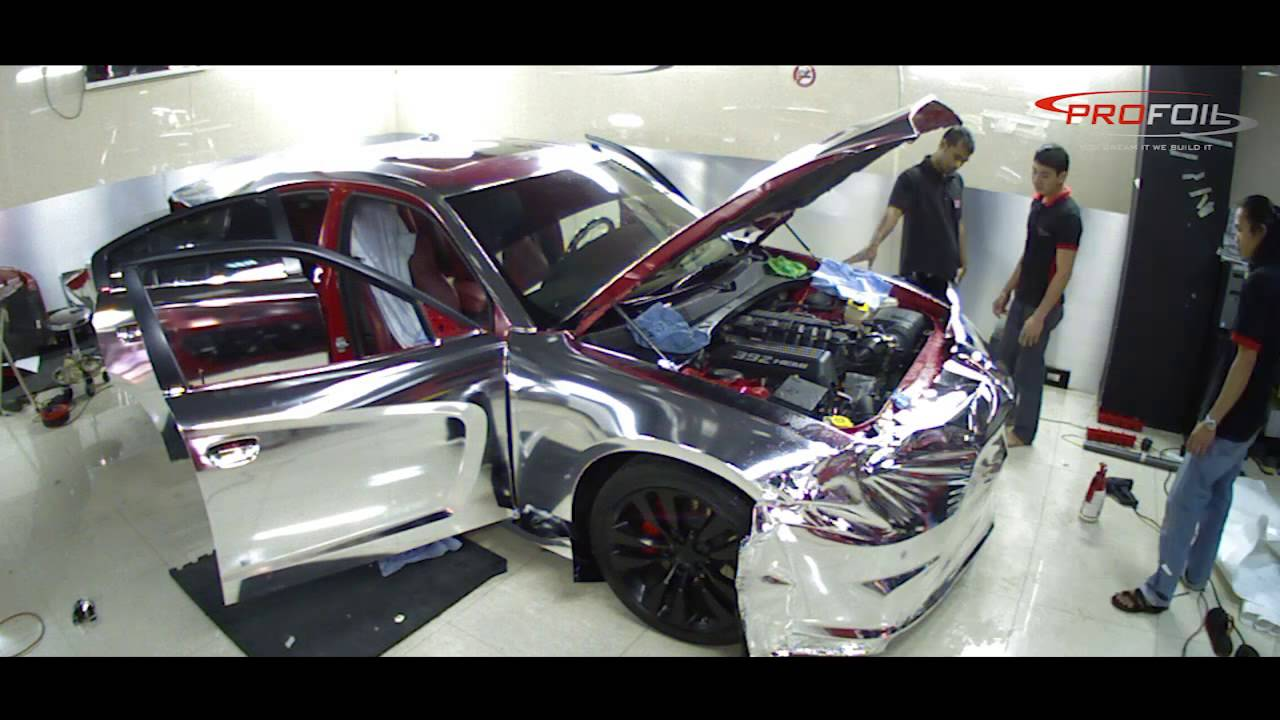 Chrome Car Wrap >> CAR WRAP DUBAI -- DODGE CHARGER SRT8 IN RED CHROME BRUSHED DONE @ PROFOIL - YouTube
