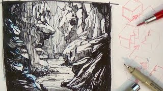 Pen and Ink Drawing Tutorials | How to draw a Valley Gorge landscape scenery