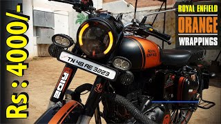 Royal Enfield Orange & Black Wrapping Stickers| Bullet Modification in ERODE | #xtremz