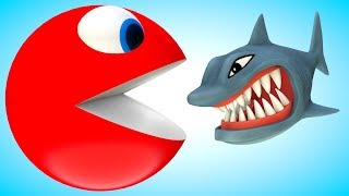 PACMAN meets a Shark & a lot of balloons when he rolling on bridge and eats lollipops at river