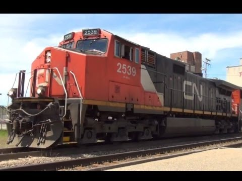 CN Freight Train & Amtrak Wolverine at Battle Creek