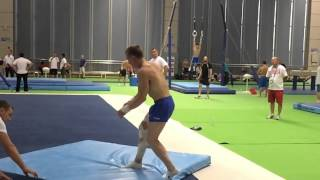 Gymnastics Worlds: Slow Mo Double-Double Layout!