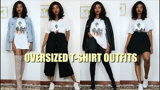 20 Ways To Style Your Oversized T-Shirt | Oversized T-Shirt Outfits