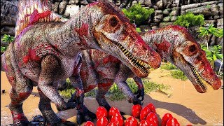 Roubei Ovos do T Rex, Familia Spinossaurus ! Ark Survival Evolved  Rodrigo