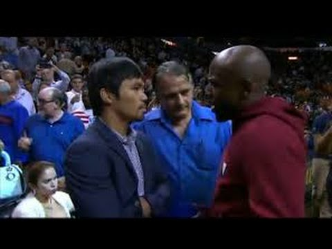 Floyd mayweather Visits Manny Pacquiao At His Hotel  After NBA Game - esnews boxing