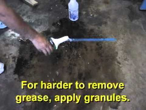 Quick degreaser on garage floor oil and grease stains for How to degrease concrete floor