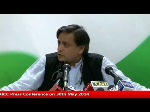 Dr Shashi Tharoor's Aicc Press Conference On 30th May 2014 video