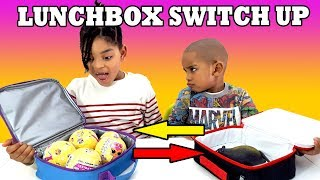 THE LUNCHBOX SWITCH UP CHALLENGE!!! SURPRISE TOYS VS LOL SURPRISE GUMMY REAL FOOD AND SQUISHIES!