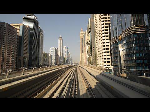 Dubai metro in HD 2014 - ride from Dubai Marina to WTC