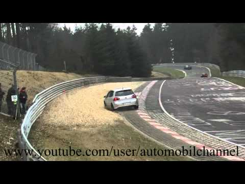 Auto Racing Accidents on Nordschleife Nurburgring Vw Golf R32 Crash Accident Unfall Br  Nnchen