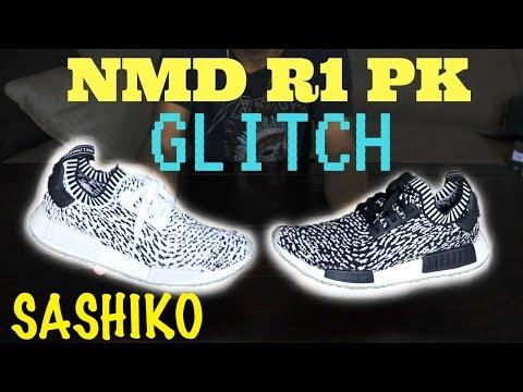 Adidas nmd r1 pk sashiko glitch in bianco e nero revisione nmd
