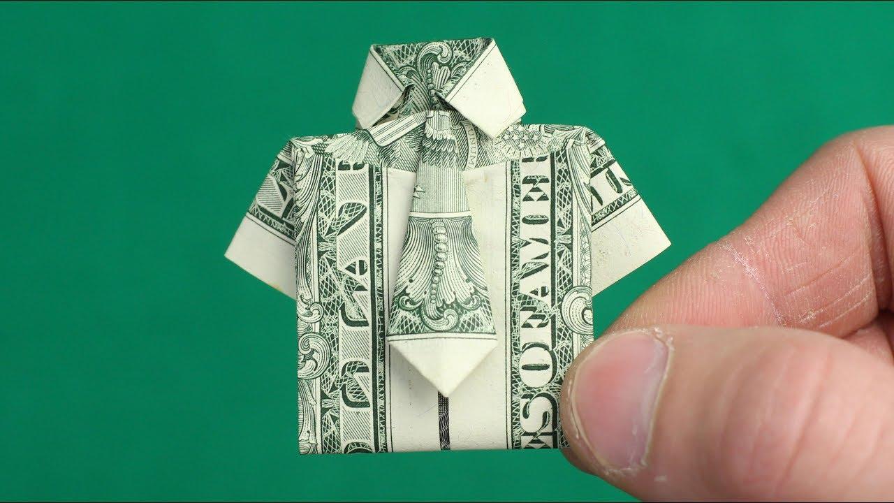 Как сделать рубашку с галстуком из доллара 153
