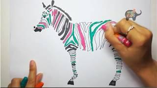 Vẽ Con Ngựa Vằn I Dạy bé Các Con Vật