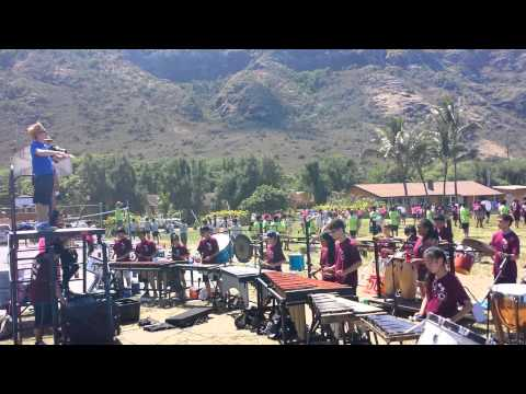"""The Moanalua High School """"Menehune"""" Marching Band and Color Guard"""