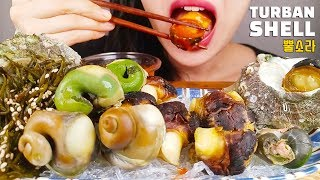 KOREAN SEAFOOD ASMR MUKBANG *GIANT TURBAN SHELL* NO TALKING EATING SOUNDS  l 뿔소라 리얼사운드 먹방
