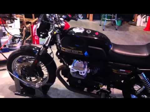 Moto Guzzi V7 with wrapped exhaust