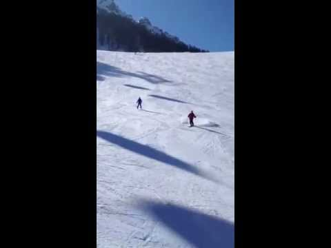 Dad comes down the slope