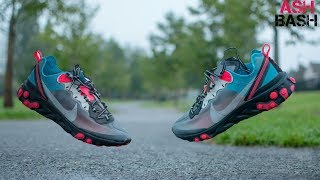 Review + On Foot | Nike React Element 87 ' Solar Red/ Blue Chill' | Ash Bash