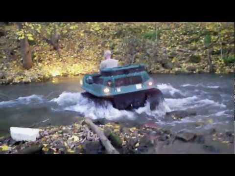 Max IV 6x6 Amphibious ATV 6 Wheeler on Tracks w/ Kawasaki EFI 29HP Crossing a Creek