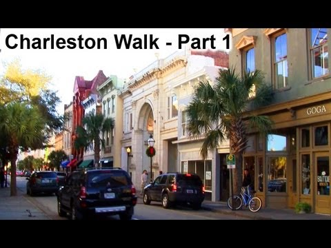 Charleston, SC Scenic Walk - HD Part 1 - King Street South to Market St.