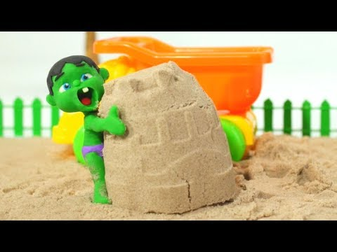 BABY HULK PLAYS WITH SAND ❤ Spiderman, Hulk & Frozen Elsa Play Doh Cartoons For Kids