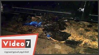 آثار حريق معمل فى كلية الحاسبات والمعلومات بجامعة القاهرة