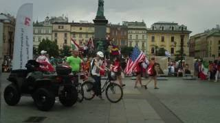 Krakow, city center, a variety of people, flags and sounds... Halleluyah! WYD in Krakau Cracovia