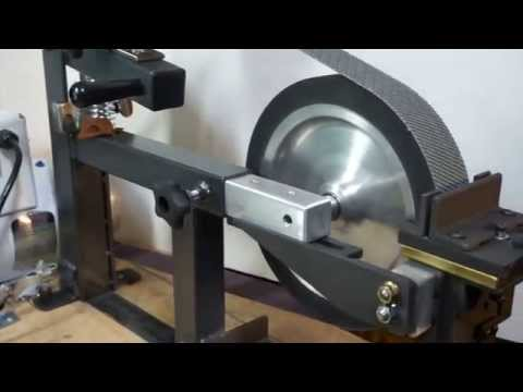 KNIFE HOLLOW GRINDING  JIG  on a belt grinder  for knife making  .Pheer Grinders