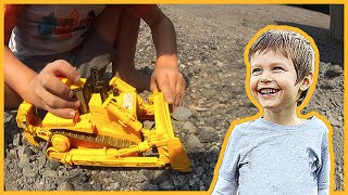Toy Construction Trucks Build a Gravel Road