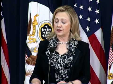 US Secretary of State Hillary Rodham Clinton delivers remarks at the opening ...